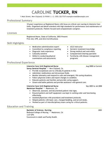 Example Of Registered Nurse Resume  Resume Examples And Free