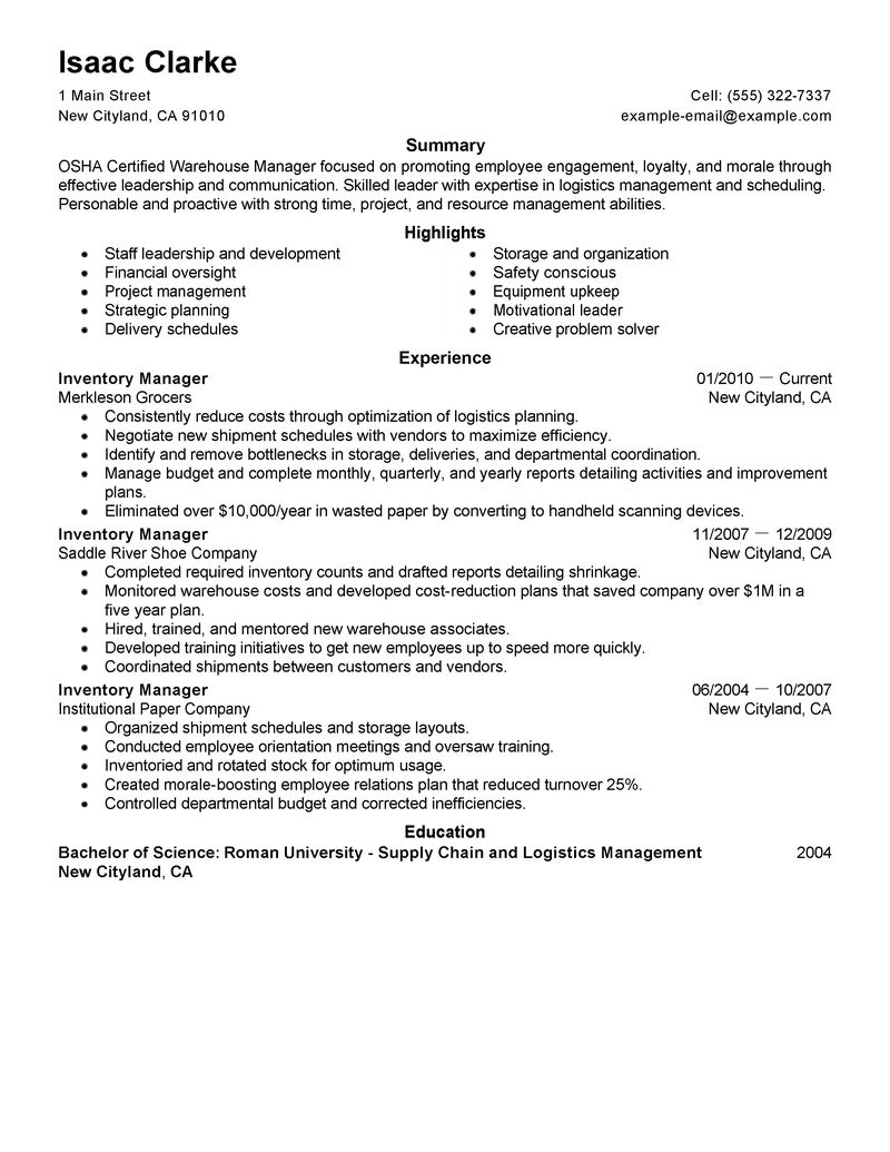 Production Manager Resume Examples Resume For Production Manager Job