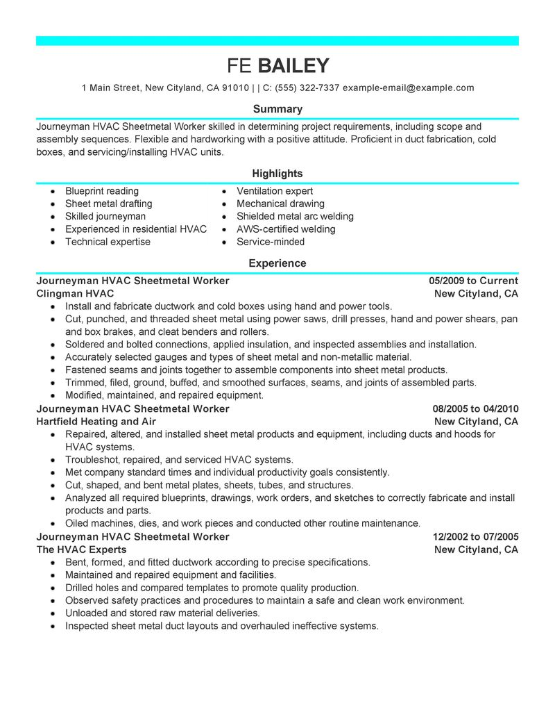 sheet metal resume samples sheet metal mechanic resume sample livecareer workers resume examples construction resume samples - Aircraft Sheet Metal Mechanic Resume Sample