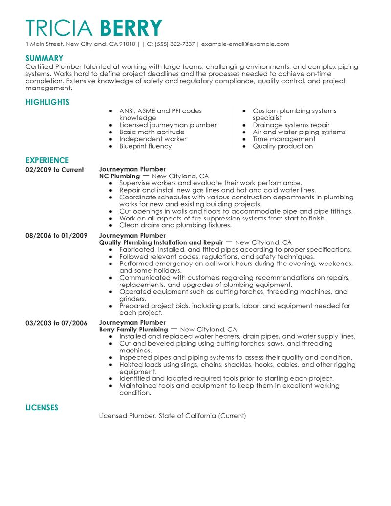 sample resume construction cost estimator how to include your journeymen plumbers construction contemporary 4 sample resume - Bridge Engineer Sample Resume