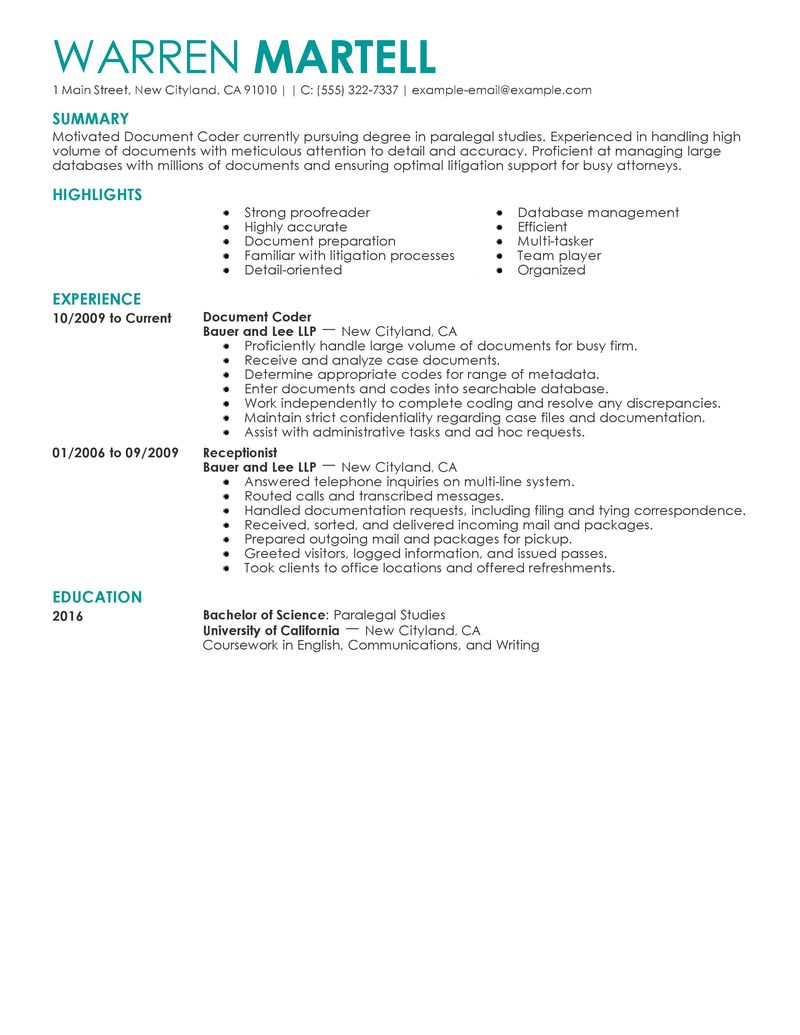 Sample Resume Objective For A Library Assistant Arojcom Best Legal Coding Specialist Resume Example Livecareer