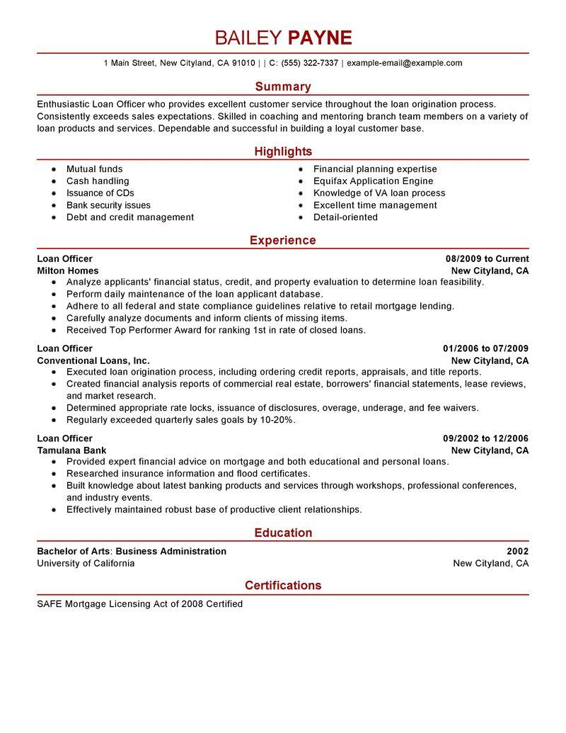 Sample Resume For Loan Officer Position
