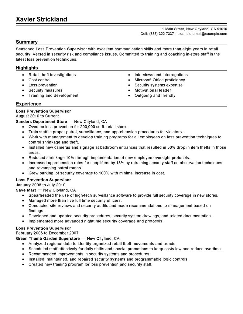 Resume Examples Free Example Resumes And Resume Templates Best Loss Prevention Supervisor Resume Example Livecareer