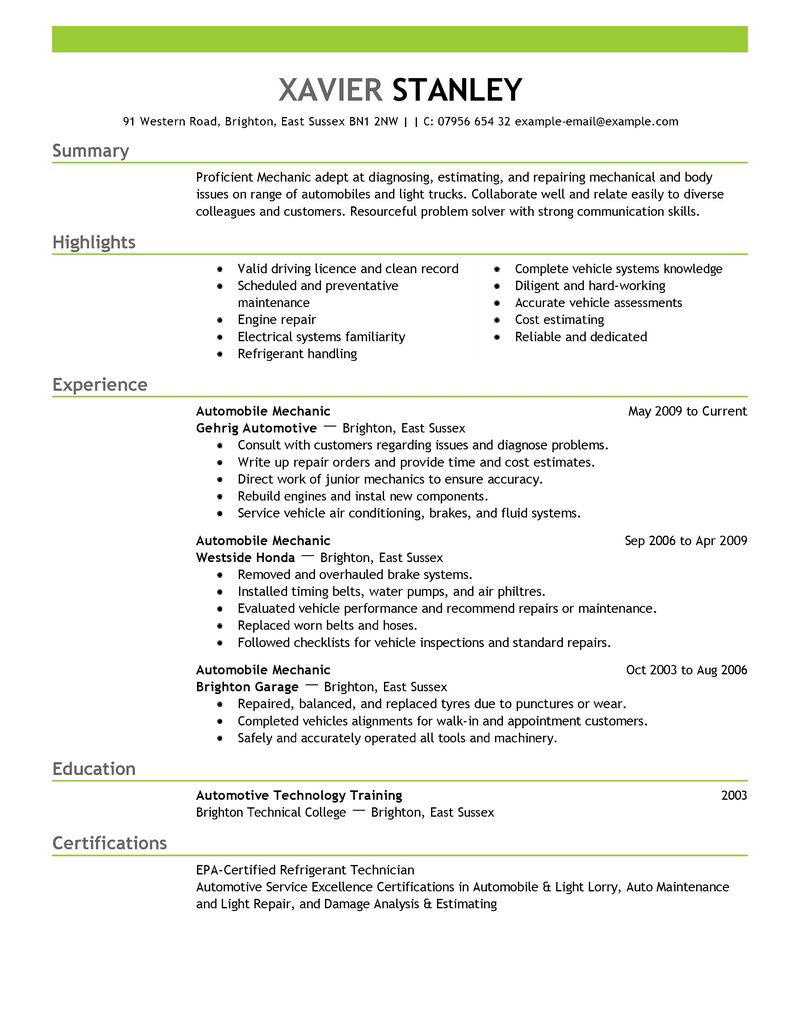 How To Write A Resume 19 Common Questions Answered Best Mechanic Resume Example Livecareer