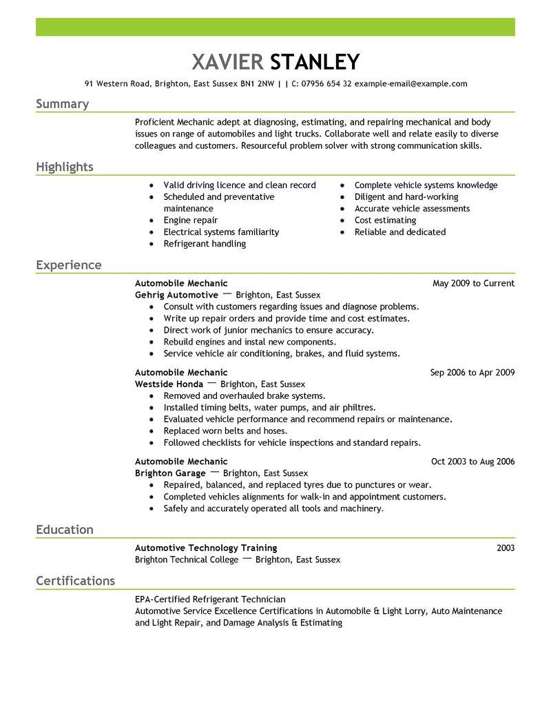 resume examples car mechanic