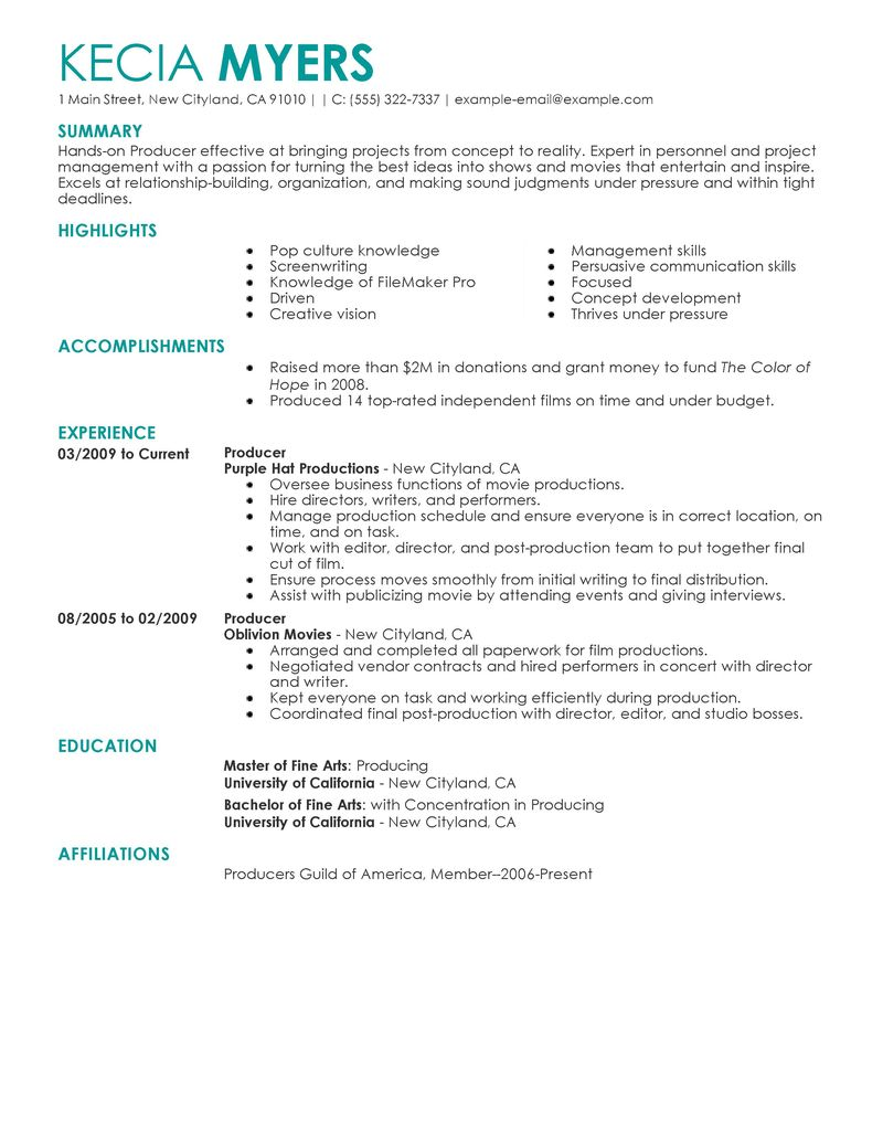 sample media profesional resume