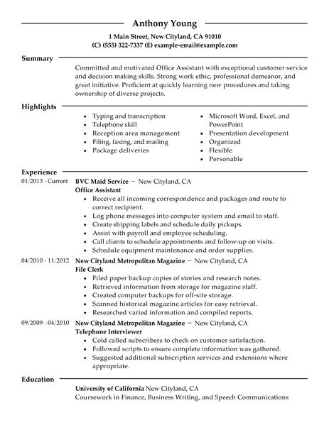 Best Office Assistant Resume Example LiveCareer - customer service resumes