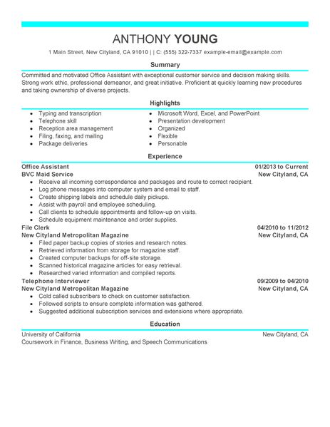 Best Office Assistant Resume Example LiveCareer - office assistant sample resume