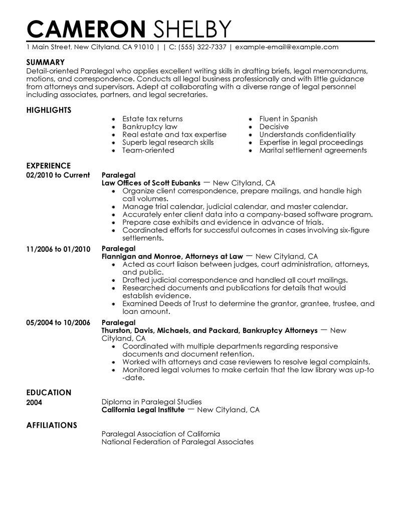 experienced paralegal resume sample