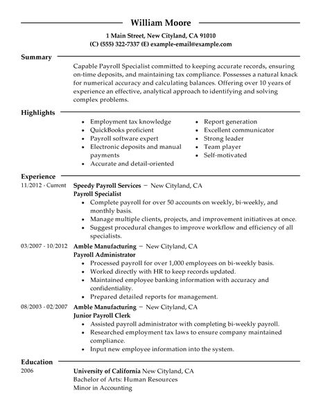 payroll specialist resume example