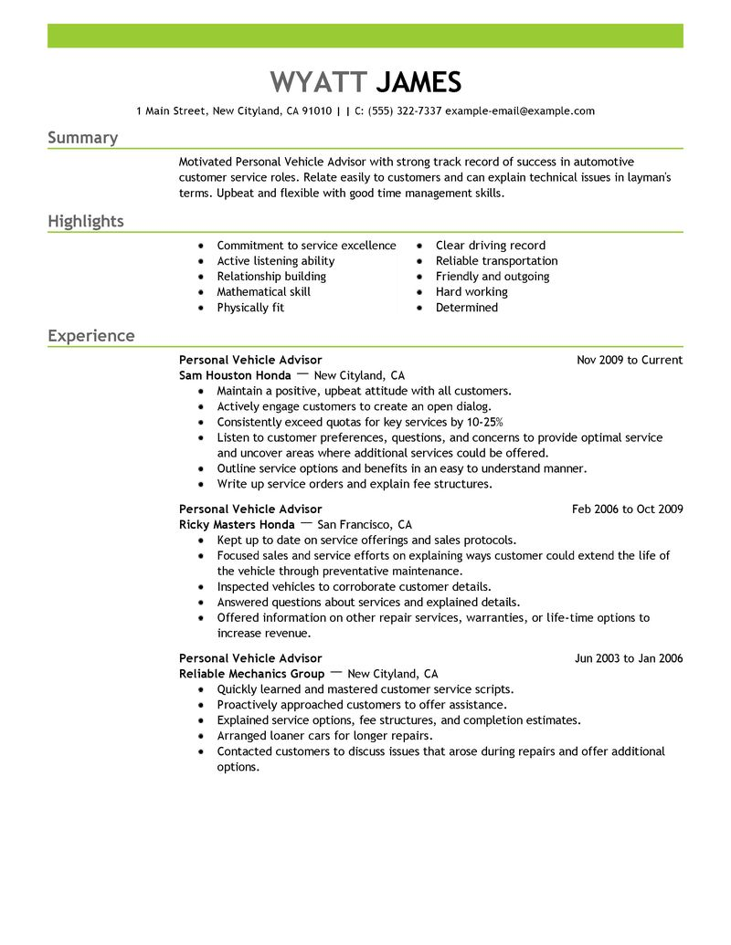 Sjr State Academic Advising Personal Vehicle Advisor Resume Example Automotive