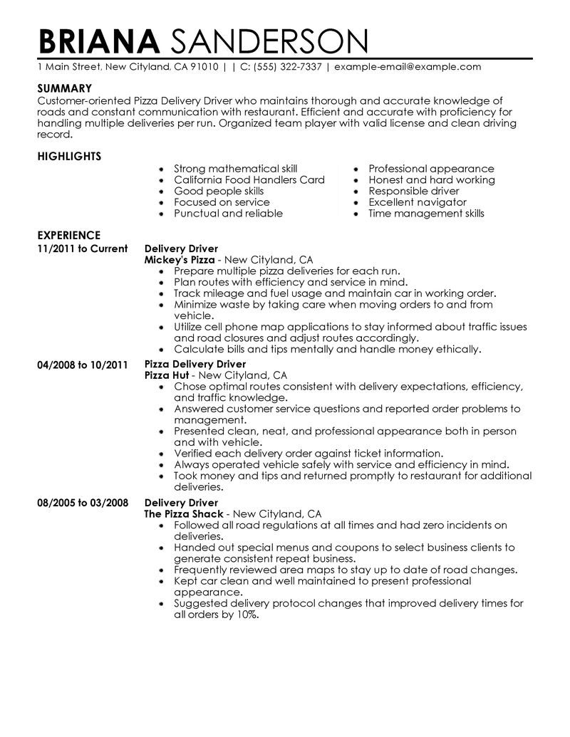 pizza driver resume examples