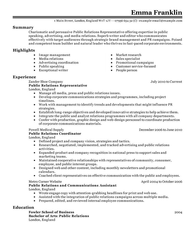 Sample Cover Letters Free Resume Cover Letter Examples Best Public Relations Resume Example Livecareer