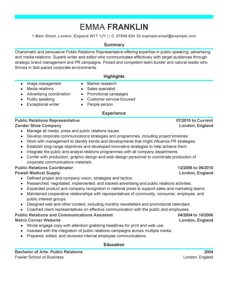 public relations resume summary statement