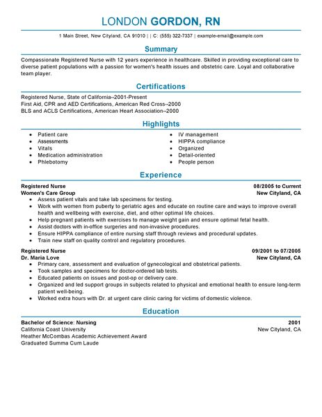 Best Registered Nurse Resume Example LiveCareer - rn resume templates