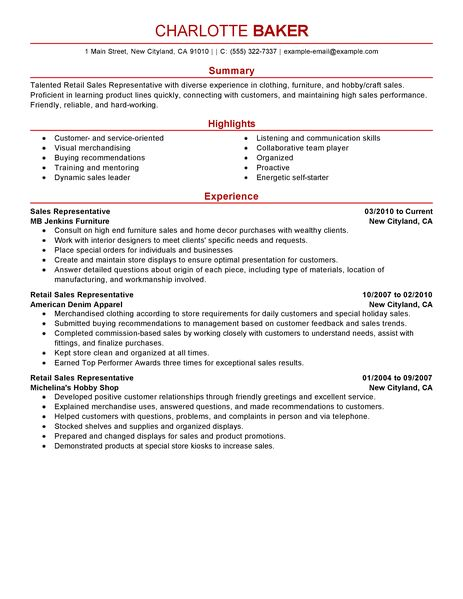 Best Rep Retail Sales Resume Example LiveCareer - customer service resumes
