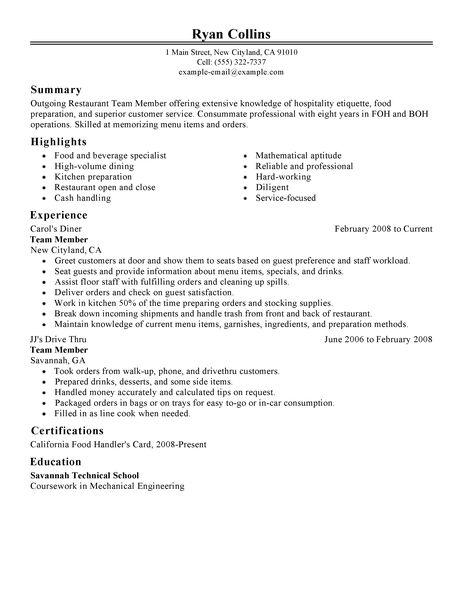 Resume Example Restaurant Resume Ixiplay Free Resume Samples - restaurant resume template