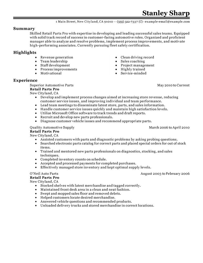 automotive repair store manager resume examples