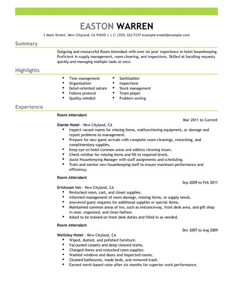 Application Letter Sample Room Attendant | Sample Resume Service