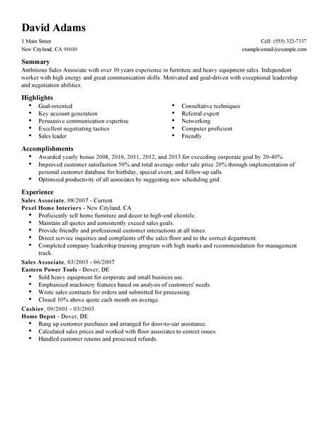 Example Resume Sales Associate Summer Sales Associate Resume Example The Balance Simple Sales Associate Resume Example Livecareer