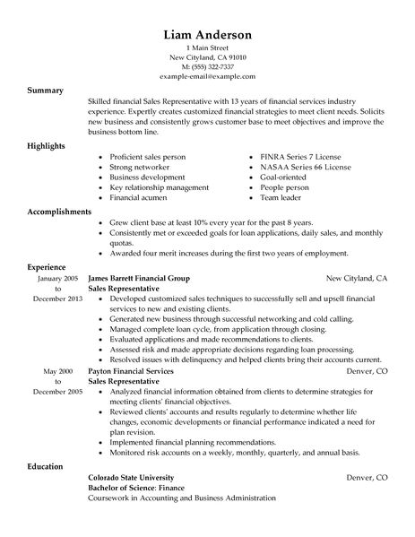 Resume Sales Representative Examples - Examples of Resumes - resumes for sales