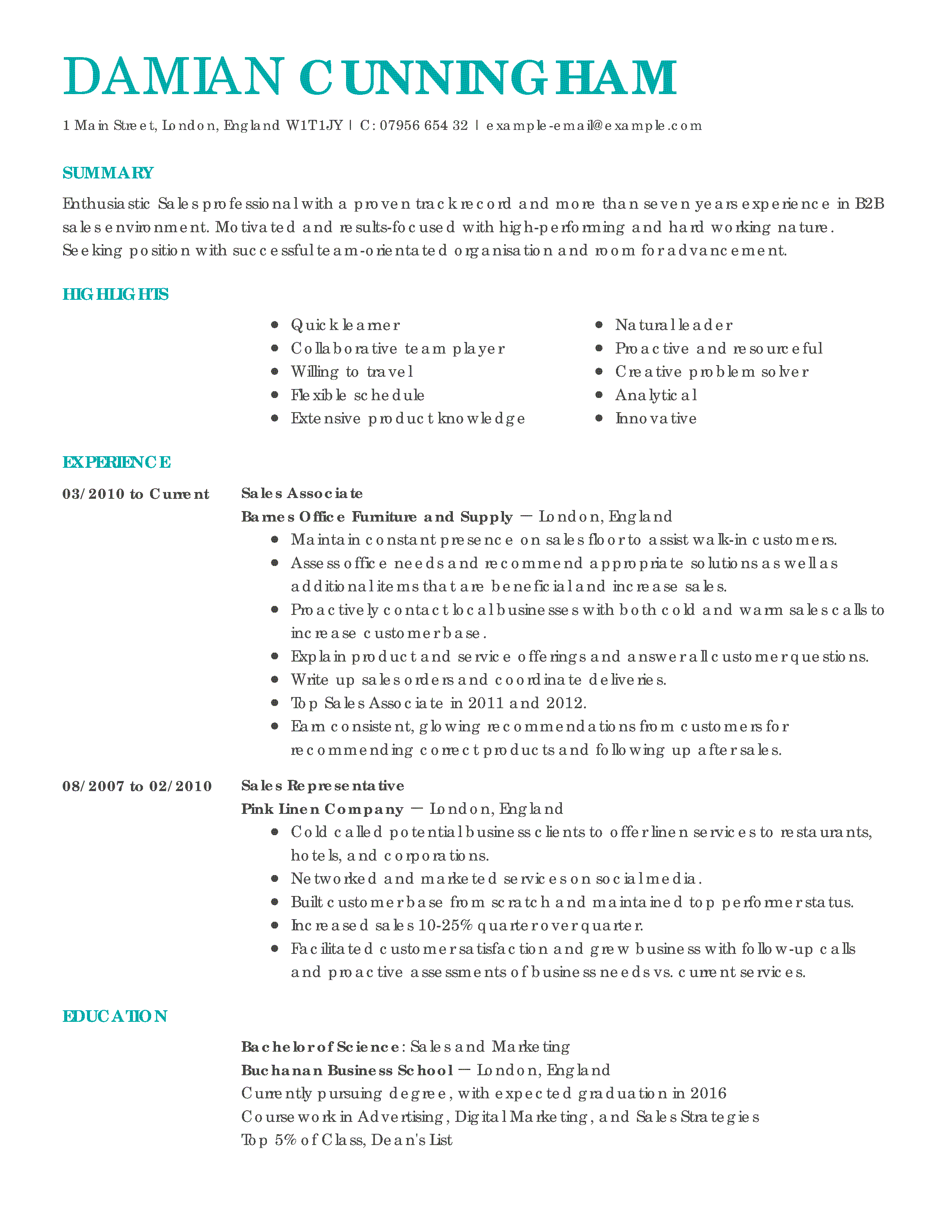 objectives for sales resume