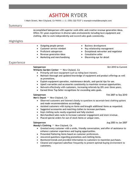 retail salesperson resume sample