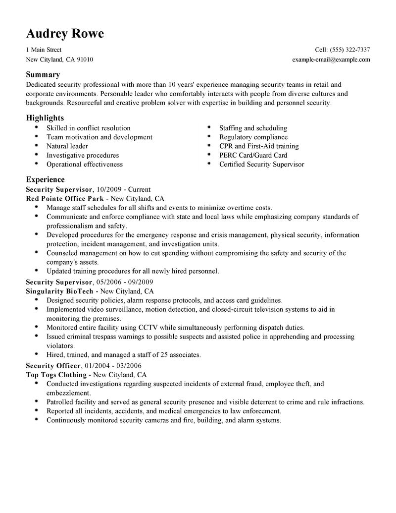 free sample resume for security supervisor