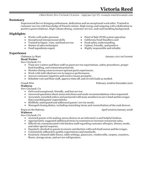 sample of restaurant resumes sample of restaurant resumes