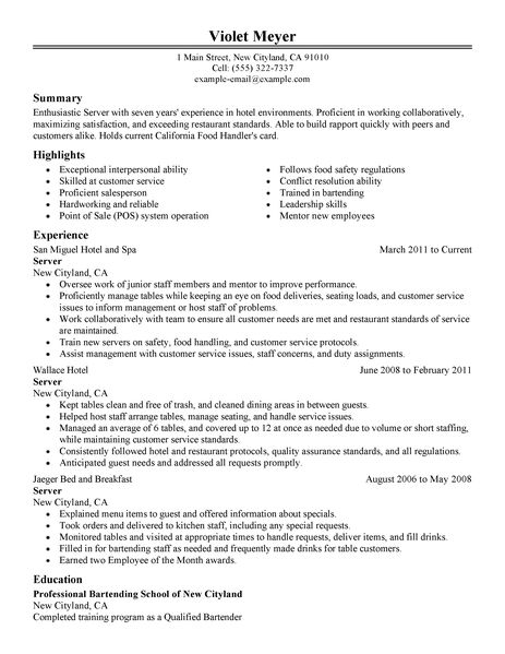 example resume for banquet server catering resume example banquet server resume example pictures