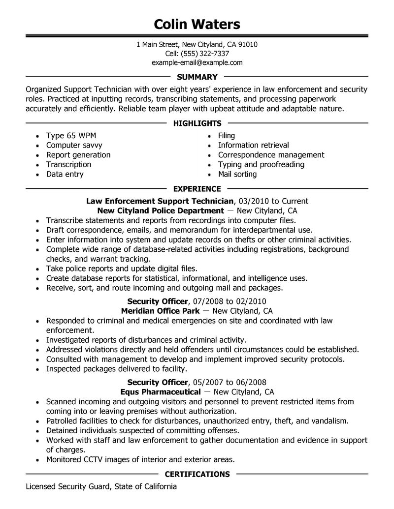 law enforcement resume cover letter samples