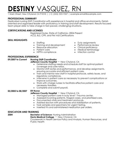 Nursing Resume Templates Free Resume Templates For Best Shift Coordinator Resume Example Livecareer