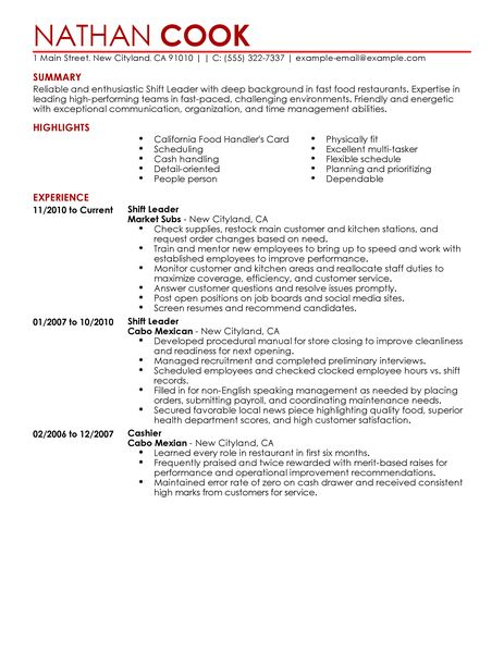 shift lead job description