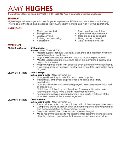 18 Amazing Restaurant Bar Resume Examples Livecareer Best Restaurant Shift Manager Resume Example Livecareer