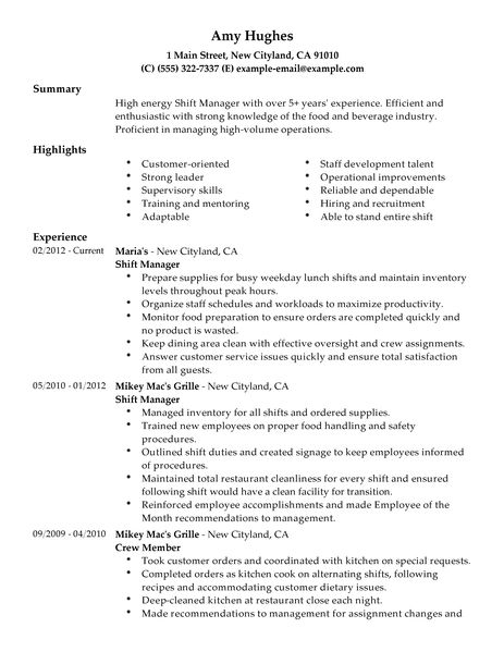 business owner job resume business resume free cv samples shift manager resume examples food and restaurant