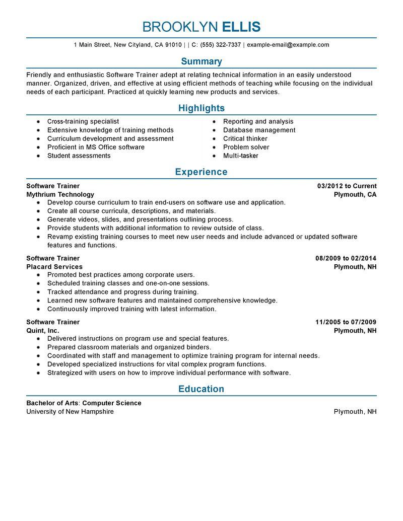 Sample Of On Job Training Resume Sample Trainer Resume Best Sample Resume Best Software Training Resume Example Livecareer
