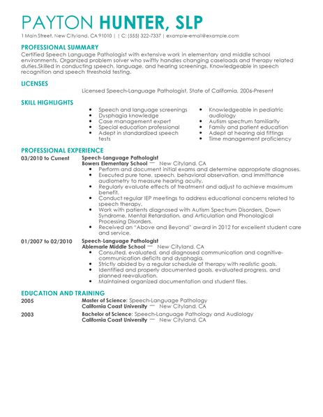 school speech pathology resume example