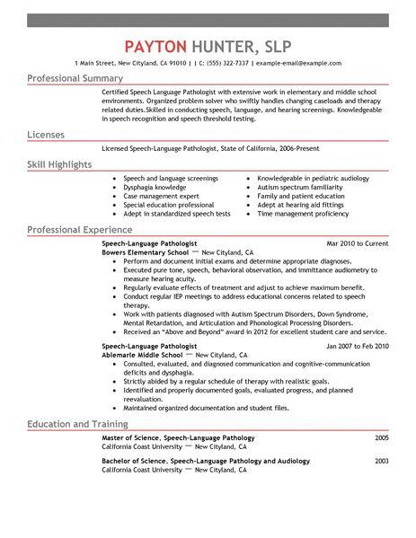 Resume Skills List Of Skills For Resume Sample Resume Best Speech Language Pathologist Resume Example Livecareer