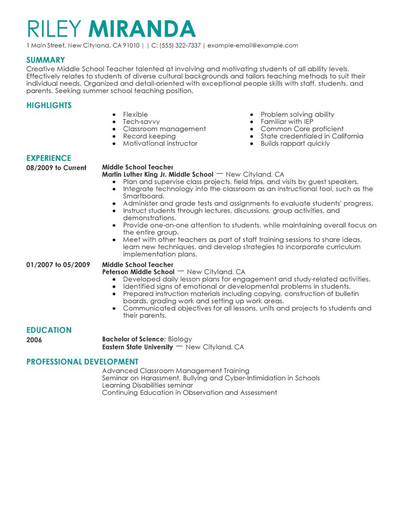 Sample Nursing Resume Best Sample Resumes Best Summer Teacher Resume Example Livecareer