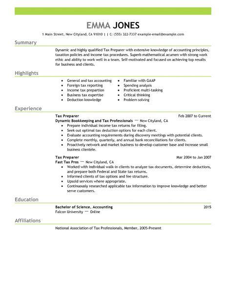 resume of tax preparer sle resume writing format
