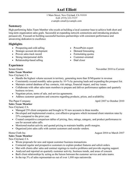 Best Sales Team Member Resume Example LiveCareer - resume sales examples