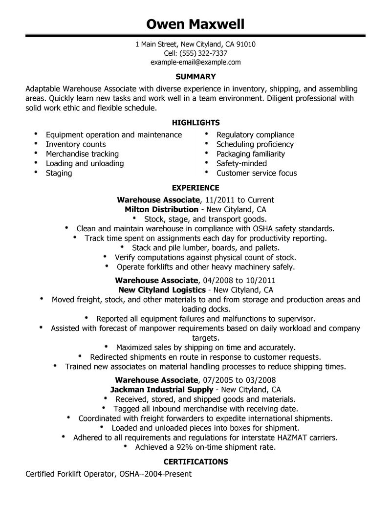 warehouse worker resume sample resume companion resume warehouse production sample resume - Production Resume Sample