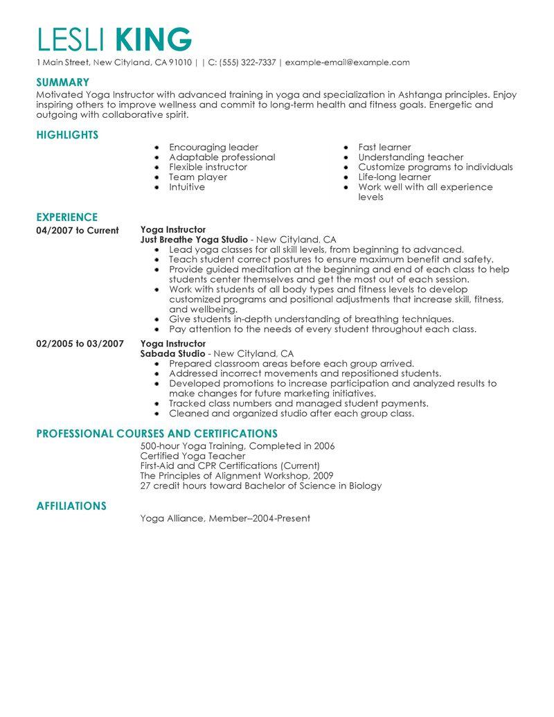 resume of yoga instructor
