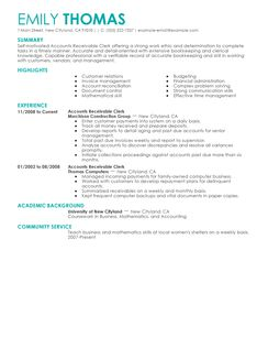 best accounts receivable clerk resume example writing resume ...