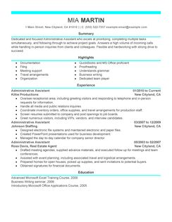 examples of a functional resume for administrative assistant