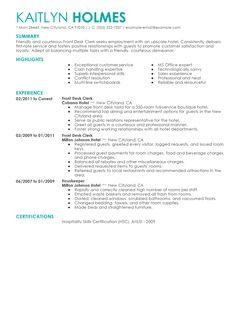 Resume For A Gym Job Receptionist Samples Livecareer Front Desk Clerk Example Hotel