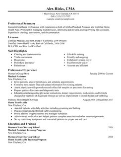Health care employment resume