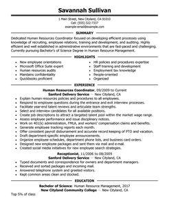 hr resume template 04052017