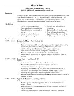 Examples Of Resume Objectives Yourdictionary Server Resume Example Restaurant And Bar Sample Resumes