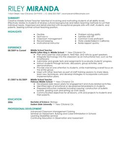 Resume Samples For The Medical Field Summer Teacher Resume Examples  Education Resume Samples Livecareer